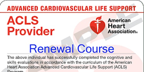 ACLS Renewal $130 ($65 down/$65 at class) tickets