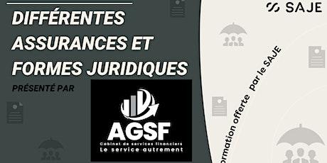 Différentes assurances et formes juridiques avec AGSF billets