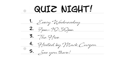 Quiz Night @ The Hive tickets