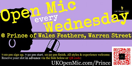 UK Open Mic @ Prince of Wales Feathers in Fitzrovia / Euston / Regent's Prk tickets