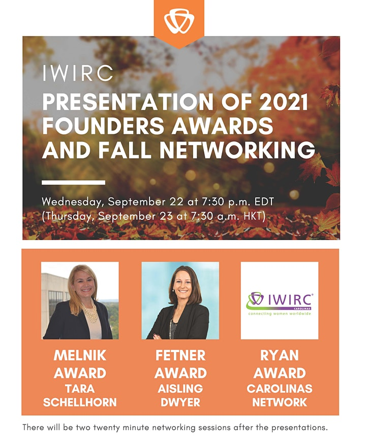 Be Inspired: IWIRC Presentation of 2021 Founders Awards and Fall Networking image
