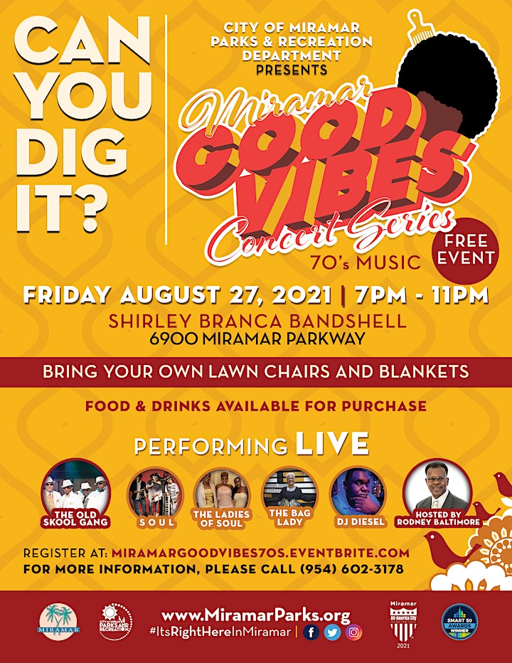 """Miramar Good Vibes Concert Series - """"Can You Dig It?"""" Live 70's Music image"""
