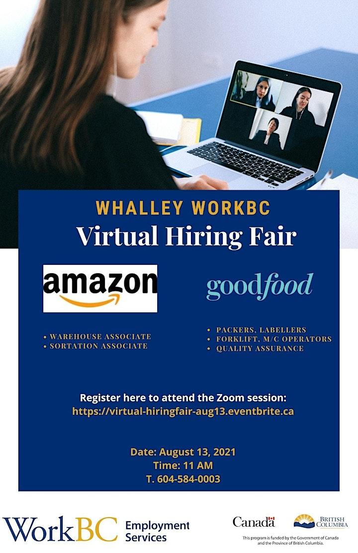 Whalley WorkBC Virtual Hiring Fair – Aug 13, 2021 @ 11am image