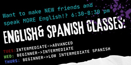 Beginner Intermediate to Advanced English OR Spanish Classes in SOBE tickets