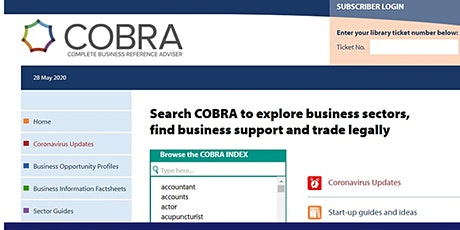 An introduction to COBRA and other free library business resources tickets
