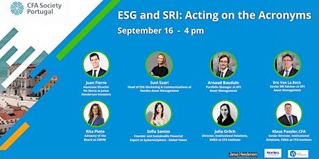 ESG and SRI: Acting on the Acronyms bilhetes