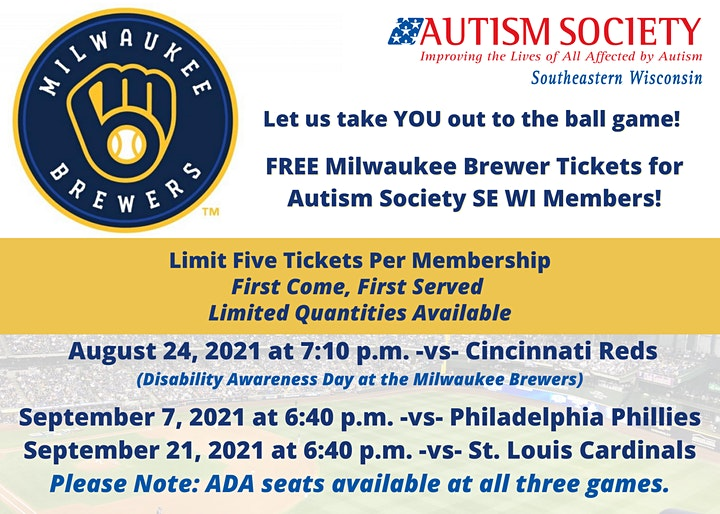 2021 Brewers  Baseball Games for Autism Society SE WI Familes image