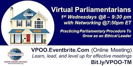 Virtual Parliamentarians Toastmasters Meeting tickets