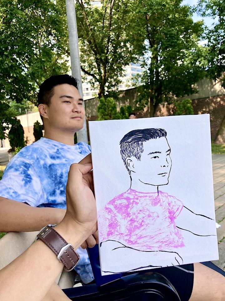 Watercolor Portrait Painting in a Park image
