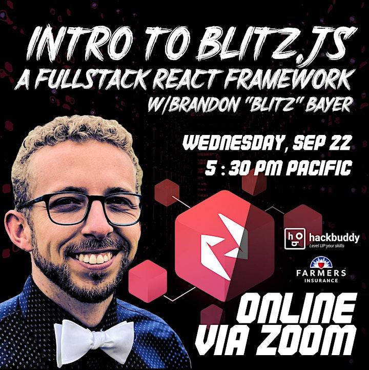 "Intro to Blitz.JS, a Fullstack React Framework w/Brandon ""Blitz"" Bayer image"