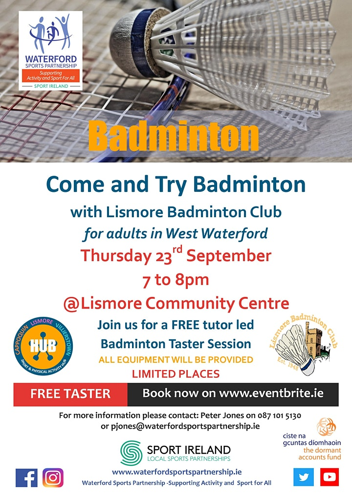 Come & Try It  - Badminton - for  Adults in West Waterford image