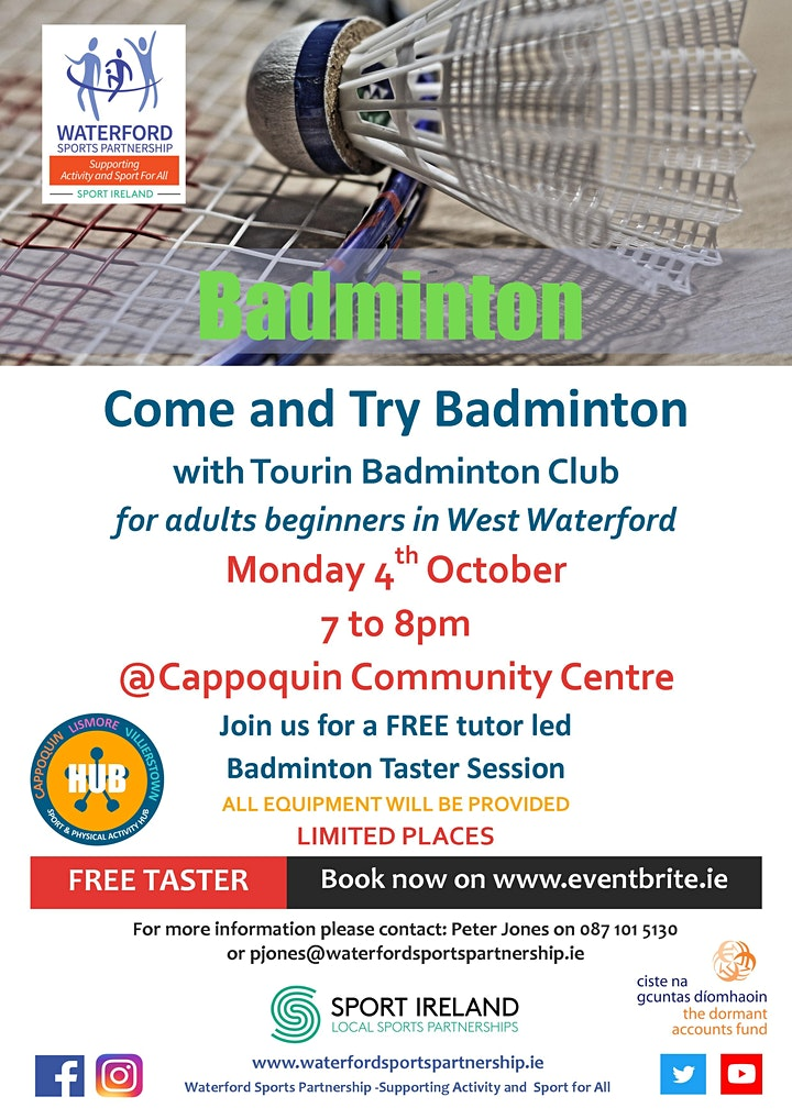 Come & Try It  - Badminton - for Adult beginners in West Waterford image