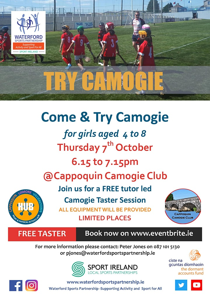 Come & Try Camogie for children aged 4 - 8 in West Waterford image