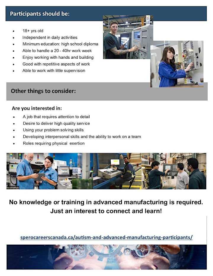 1: Autism Community and Advanced Manufacturing Pilot Program - Info Session image