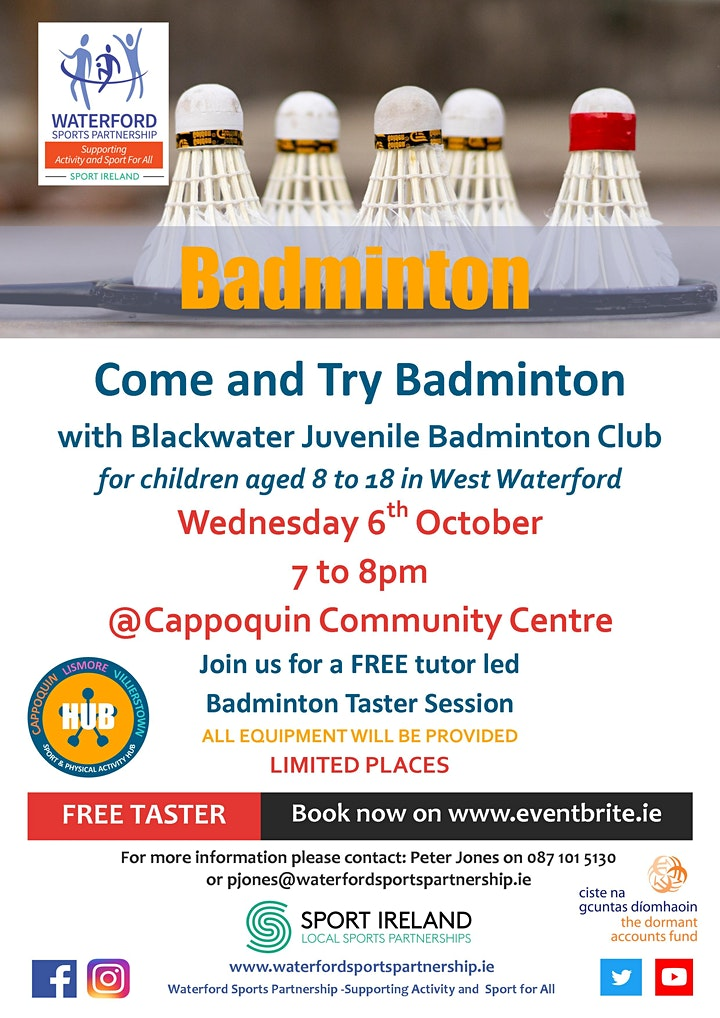 Come & Try Badminton for children aged 8 - 18 in West Waterford image