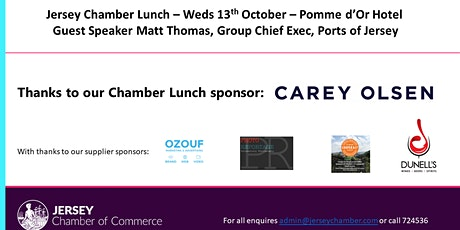 Jersey Chamber Lunch - October 2021, kindly sponsored by Carey Olsen tickets