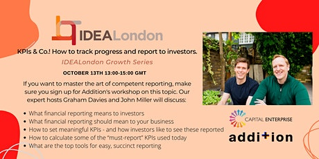 KPIs & Co. How to track progress and report to investors. tickets