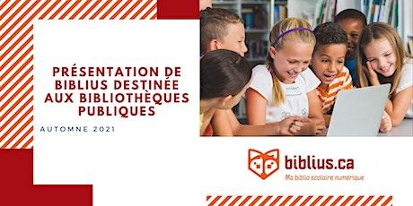 Présentation de Biblius destinée aux bibliothèques publiques billets