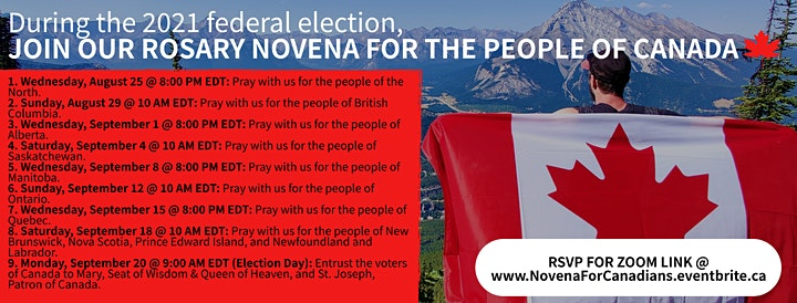 2021 FEDERAL ELECTION: Rosary Novena for the People of Canada image