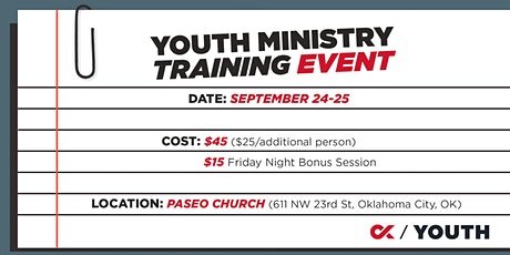 Youth Ministry Training Event tickets