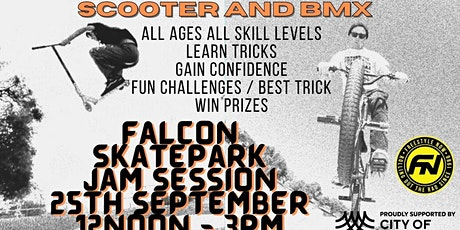 Falcon skatepark scooter and BMX coaching jam session tickets