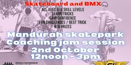 Mandurah skatepark skateboard and BMX coaching jam session tickets