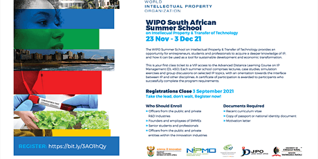 WIPO-SA Summer School on Intellectual Property and Transfer of Technology tickets