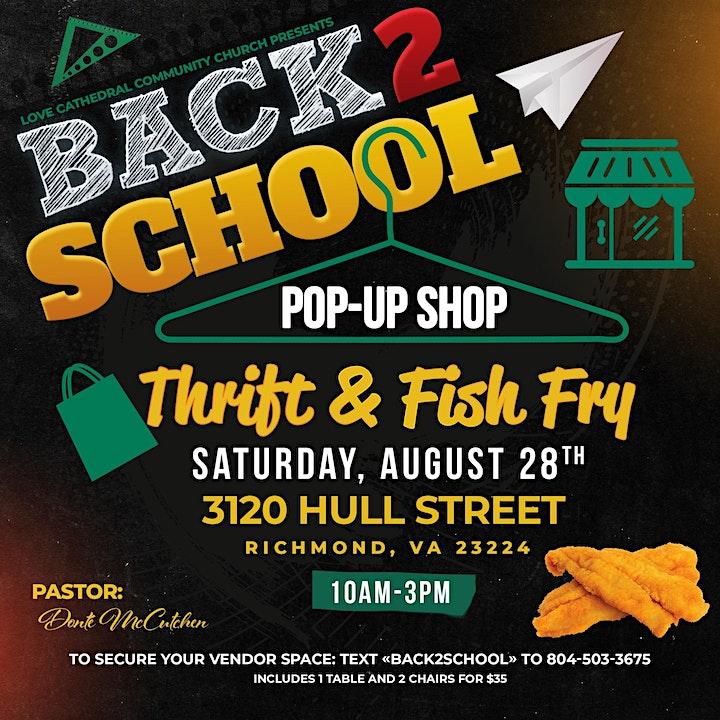 Back 2 School -Pop Up, Thrift, & Fish Fry image