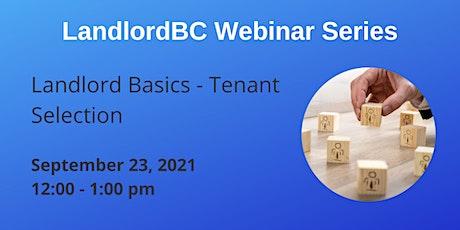 LandlordBC Webinar Series - Landlord Basics: Tenant Selection tickets