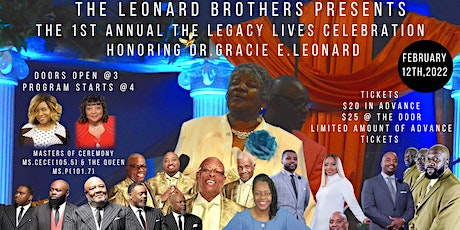 1st Annual The Legacy Lives Honoring Dr.Gracie E.Leonard tickets