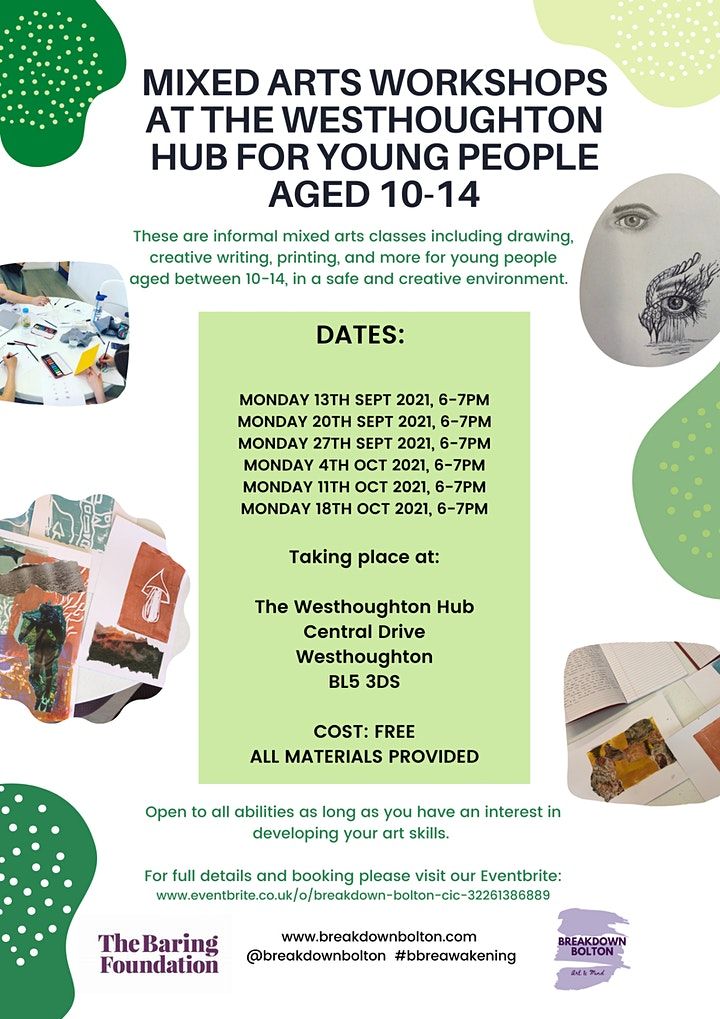 Mixed Arts workshops for young people aged 10-14 at The Westhoughton Hub image