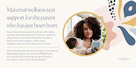Maternal Wellness Text Support Webinar tickets