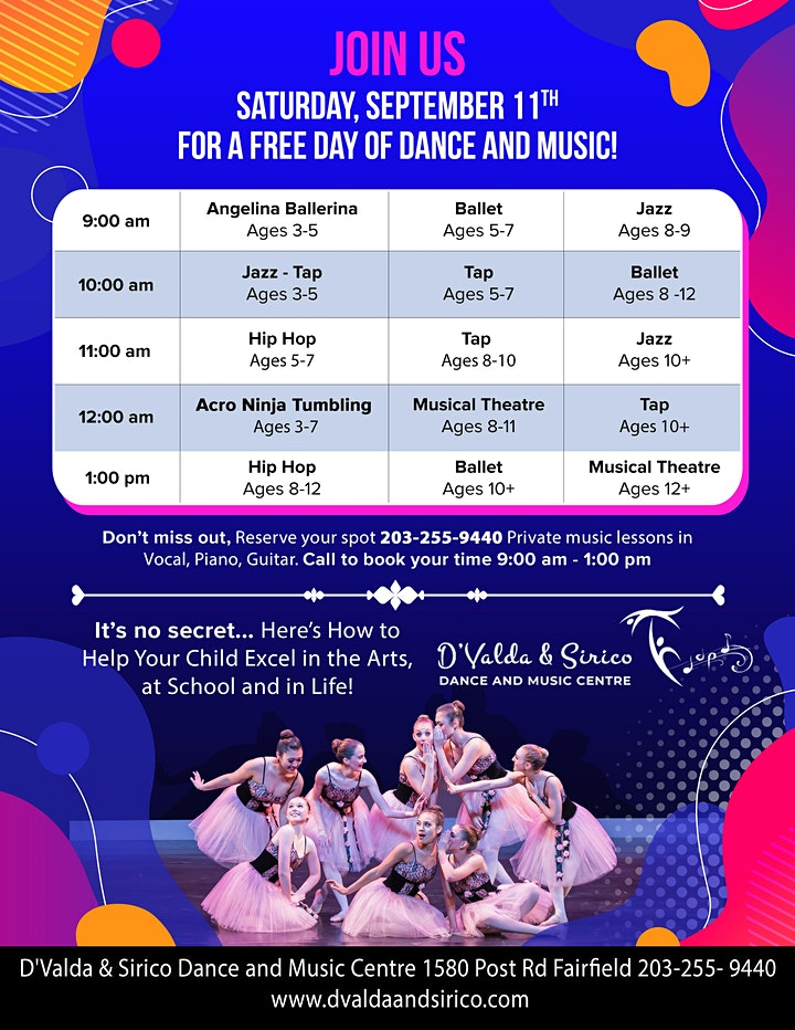 FREE Dance Classes and Music Lessons.  To Book Your Spot Call 203-255-9440 image
