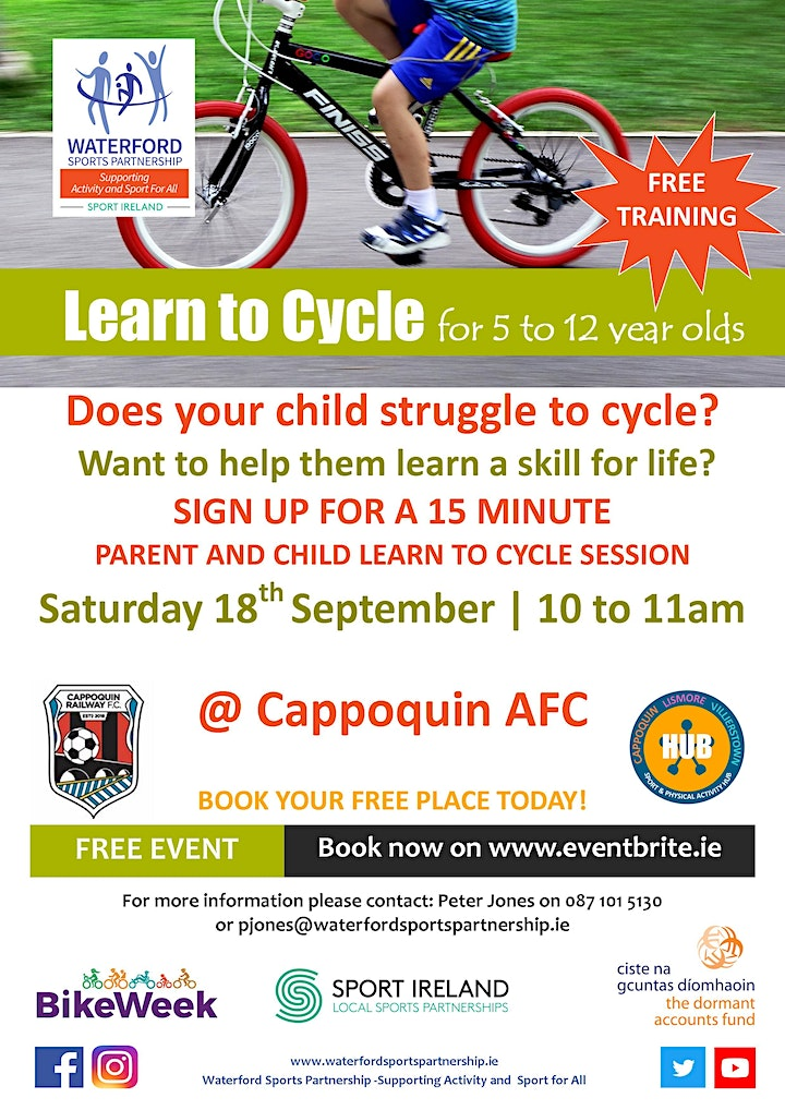 Bike Week - Learn to Cycle for 5 to 12 year olds - West Waterford image