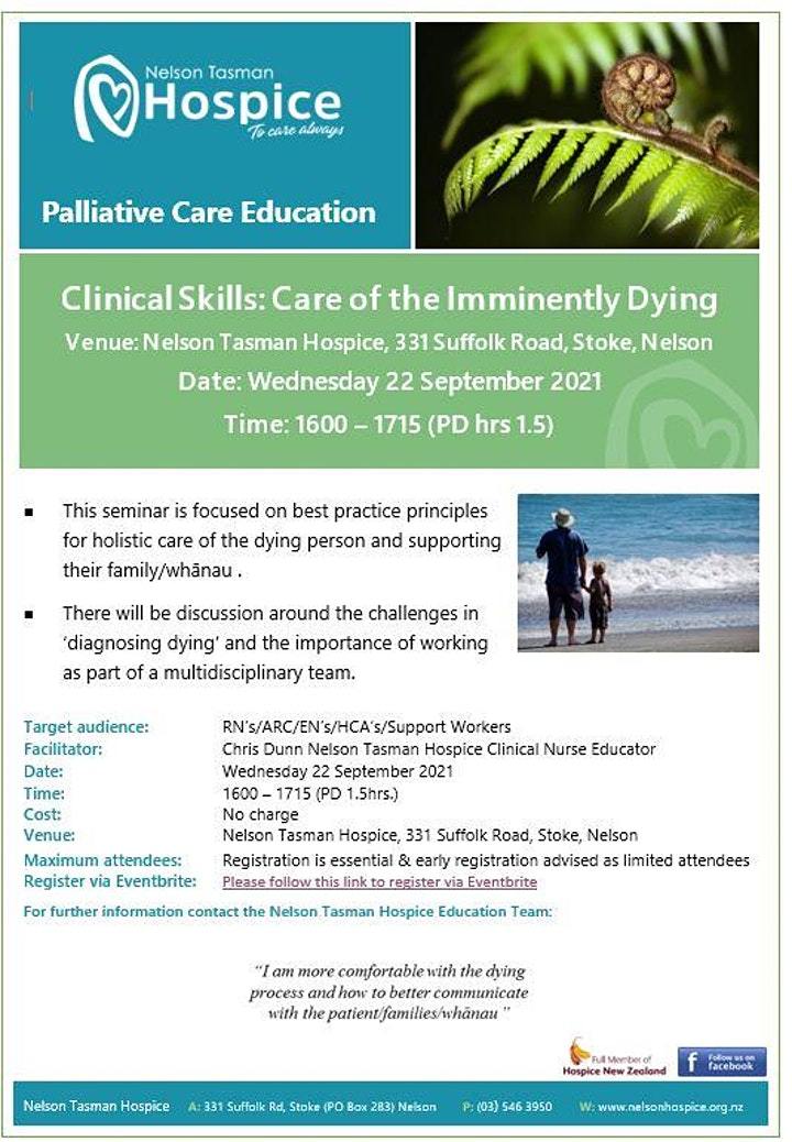 POSTPONED Care of the Imminently Dying (Clinical Skills Series 1.5hrs) image