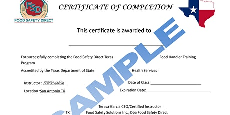 Online TX Food Handler Class -English or Spanish tickets