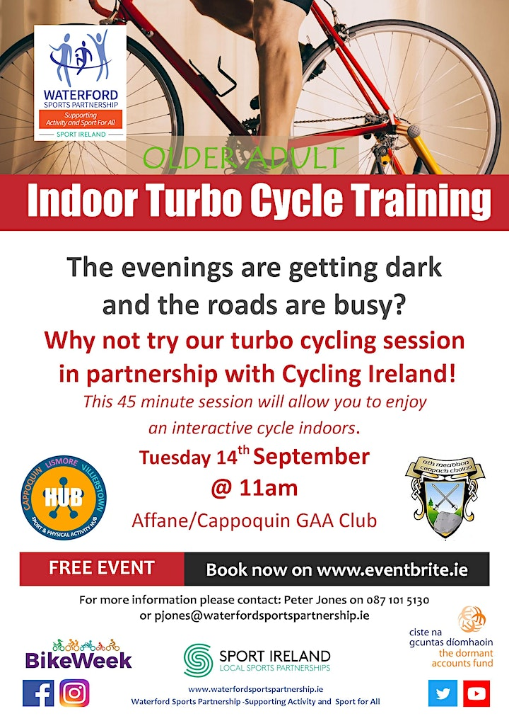 Bike Week - Indoor Turbo Cycle Training  for Older Adults - Cappoquin image