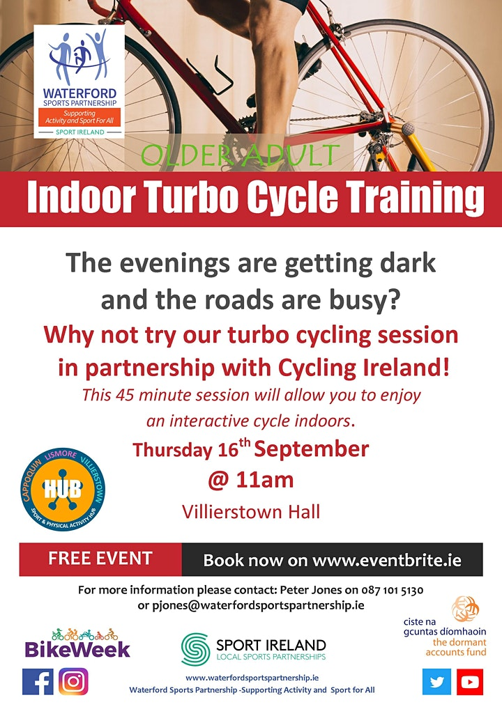 Bike Week - Indoor Turbo Cycle Training  for Older Adults - Villierstown image