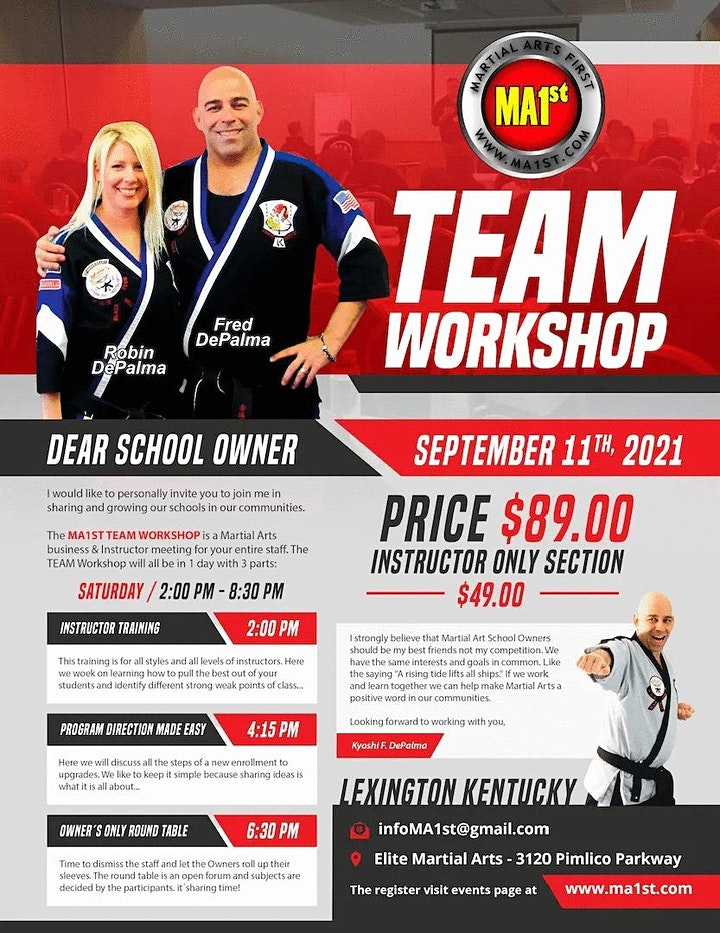 MA1st TEAM Workshop (for your entire Martial Arts TEAM) image
