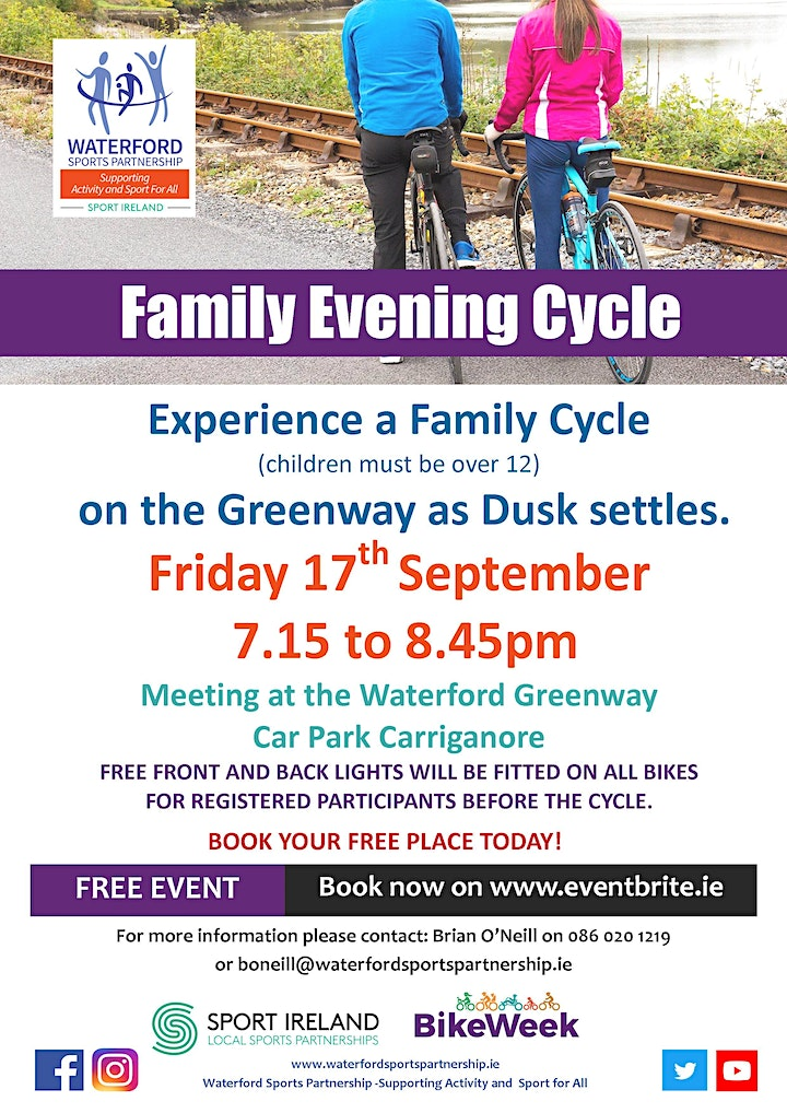 Bike Week - Family Evening Cycle - Waterford City image