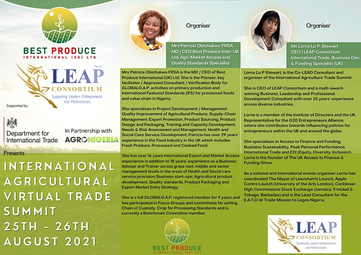 INTERNATIONAL AGRICULTURE VIRTUAL TRADE SUMMIT:  25-26 AUGUST 2021 image