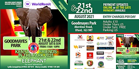 Kenya and Friends in the Park 2021-Sunday tickets