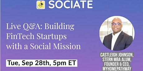 Sociate Live Q&A: Building FinTech Startups with a Social Mission tickets