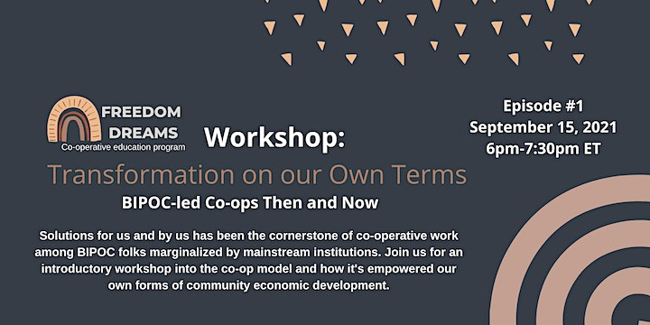 Freedom Dreams Co-operative Education: Fall Workshop Series image