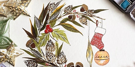 Watercolour & Wine: Christmas Wreath Painting Workshop tickets