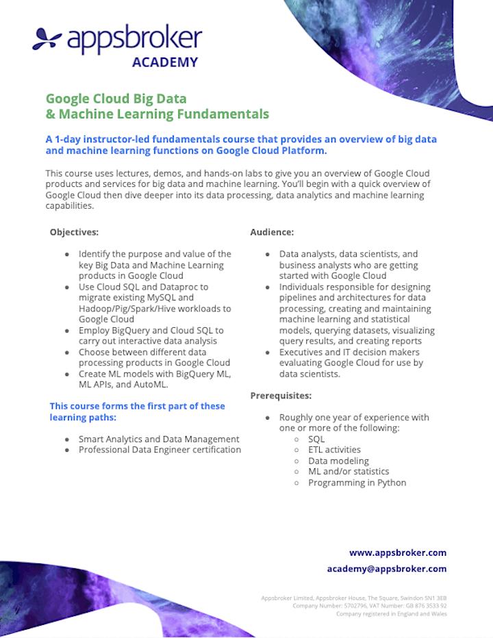 Google Cloud: Big Data & ML Fundamentals for Industry image