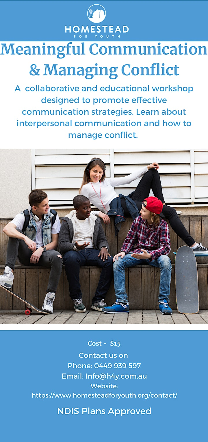 Meaningful Communication & Managing Conflict- Adult & Teen Workshops image