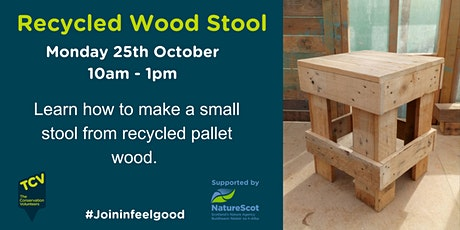 Recycled Wood Stool Building tickets