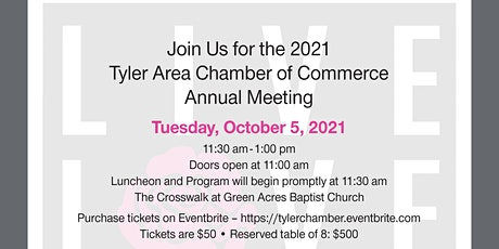 2021 Tyler Area Chamber of Commerce Annual Meeting tickets
