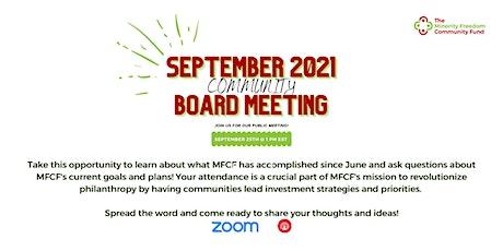 September 2021 Board Meeting tickets
